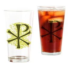 Yellow Glow Chi Ro Cross Drinking Glass