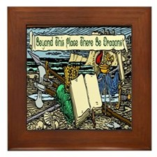 'Beyond Here There Be Dragons' Framed Tile