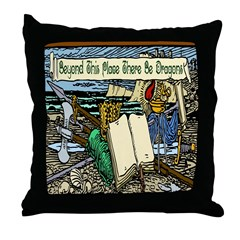 'Beyond Here There Be Dragons' Throw Pillow