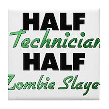 Half Technician Half Zombie Slayer Tile Coaster
