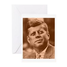 John F. Kennedy Sepia Tone Greeting Cards (Package