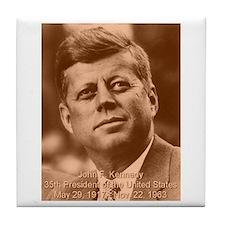 John F. Kennedy Sepia Tone Tile Coaster