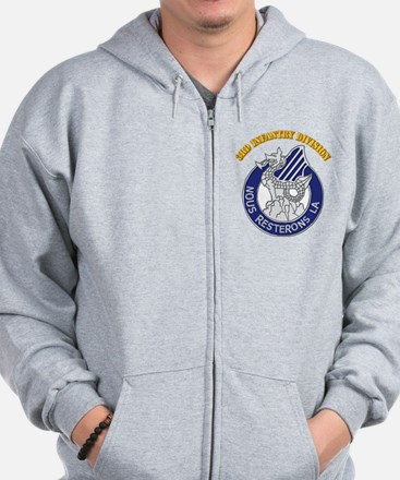 DUI - 3rd Infantry Division with Text Zip Hoodie