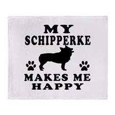 My Schipperke makes me happy Throw Blanket