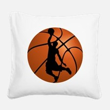 Basketball Dunk Silhouette Square Canvas Pillow