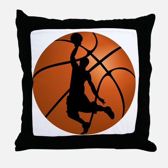Basketball Dunk Silhouette Throw Pillow