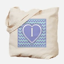 Letter I Pale Violet and Green Chevron Canvas Tote
