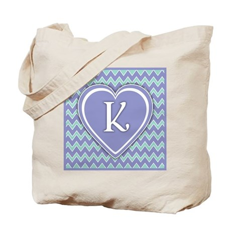 Letter K Pale Violet and Green Chevron Totebag