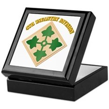 SSI - 4th Infantry Division with text Keepsake Box