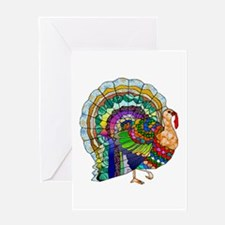 Patchwork Thanksgiving Turkey Greeting Cards