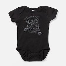 Black Pug Line Art Body Suit