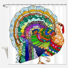 Patchwork Thanksgiving Turkey Shower Curtain