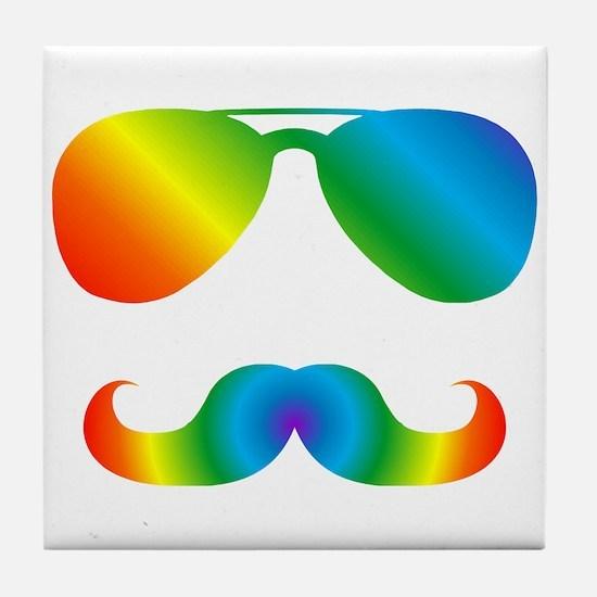 Pride sunglasses Rainbow mustache Tile Coaster