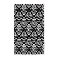 White & Black Damask #36 3'x5' Area Rug