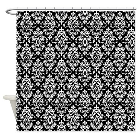 White Black Damask 36 Shower Curtain By Dpeagreendesigns