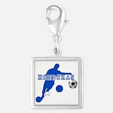 Honduras Soccer Player Silver Square Charm