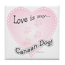 Love is my Canaan Dog Tile Coaster