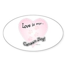 Love is my Canaan Dog Oval Decal