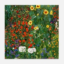 Farm Garden with Sunflowers, painting Tile Coaster