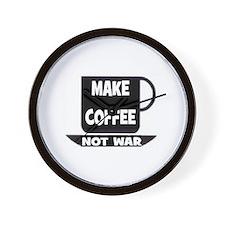 MAKE COFFEE - NOT WAR Wall Clock