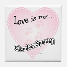 Love is my Clumber Spaniel Tile Coaster