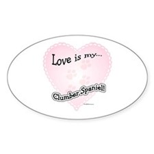 Love is my Clumber Spaniel Oval Decal