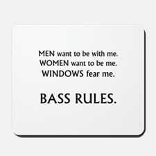 bass rules black text female version Mousepad