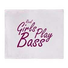 real girls play bass Throw Blanket