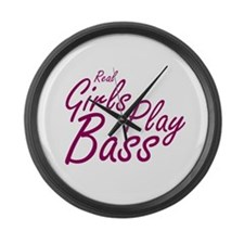 real girls play bass Large Wall Clock