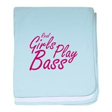 real girls play bass baby blanket