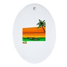 Funny Spring board diving Oval Ornament