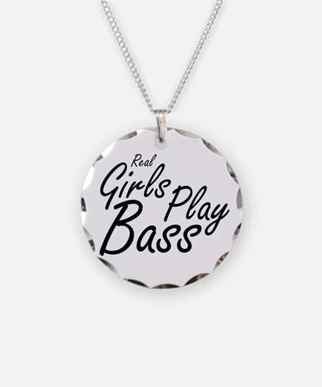 real girls play bass black Necklace