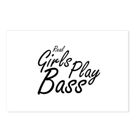 real girls play bass black Postcards (Package of 8