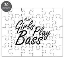 real girls play bass black Puzzle