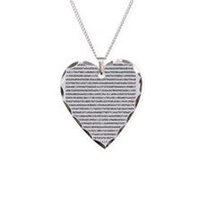 Pi to 1000 Digits Necklace Heart Charm