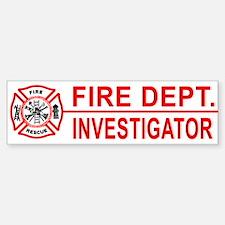 Fire Department Investigator Bumper Bumper Bumper Sticker