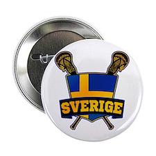 """Sweden Sverige Lacrosse Logo 2.25"""" Button (100 pac"""