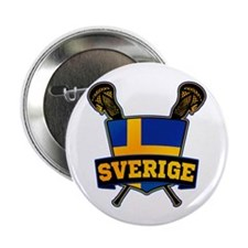 "Sweden Sverige Lacrosse Logo 2.25"" Button (10 pack"