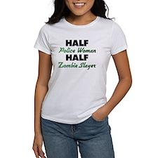 Half Police Woman Half Zombie Slayer T-Shirt