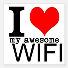 "I heart my Awesome Wife Square Car Magnet 3"" x 3"""