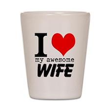 I heart my Awesome Wife Shot Glass