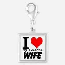 I heart my Awesome Wife Silver Square Charm