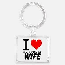 I heart my Awesome Wife Landscape Keychain