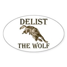 DELIST THE WOLF Oval Decal