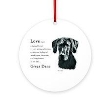 Black Great Dane Ornament (Round)