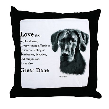 Black Great Dane Throw Pillow