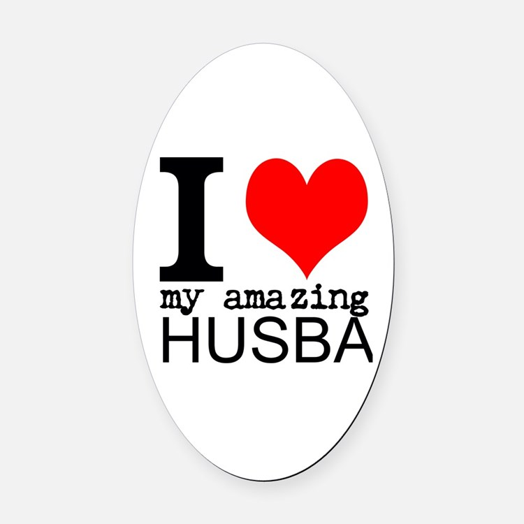 I heart my Amazing Husband Oval Car Magnet