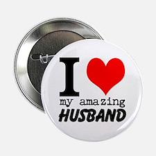 """I heart my Amazing Husband 2.25"""" Button"""