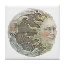 Cosmic Sun and Moon Tile Coaster
