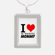 I Heart My Beautiful Mommy Silver Portrait Necklac
